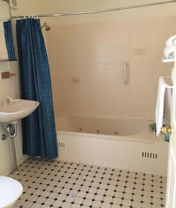 Shower and hand rail over bath . Easy access to basin. Space around toilet