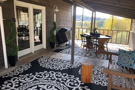 Screened outdoor deck area is just out the main door and is level.