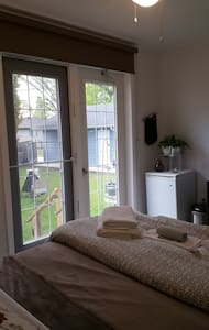 Large garden doors for easy access to the room