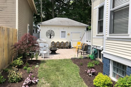 The patio can be accessed via the yard or rear driveway with no steps.