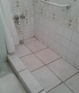 Shower has a grab bar that is fixed to the wall.
