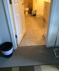 Entrance to bathroom has no steps, but a flat floor