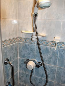 Hand held shower with thermostatic mixer tap fixed to shower wall
