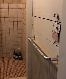 Grab bar is attached to wall in-front of the toilet-