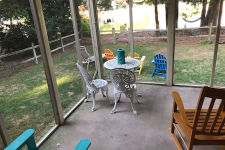 Sliding glass door from your room directly onto patio with one step down to patio.