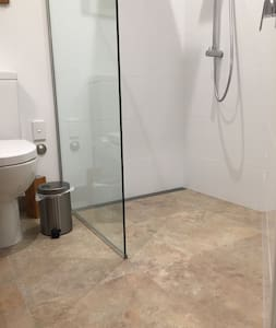 A large walk in shower