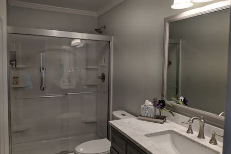 Very-low step-in shower with grab bar for safety.
