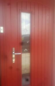 Extra wide entrance door.