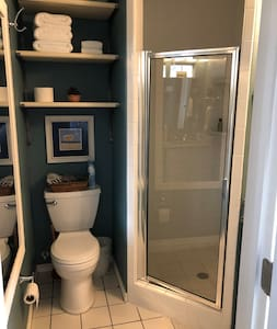 """Master bath with 32"""" accessibility for shower."""