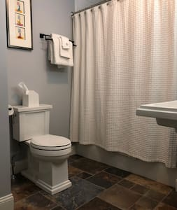 Toilet seat is 18 in high. Pedestal sink. Tub/shower combination with overhead and handheld shower heads.
