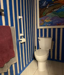 Captains Quarters toilet with support bar