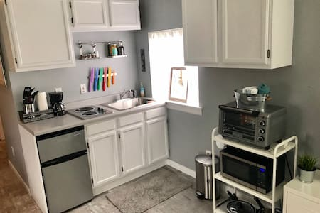 Our kitchenette is an open space with no steps inside the home to get to the kitchenette. Our hone is a studio style set-up