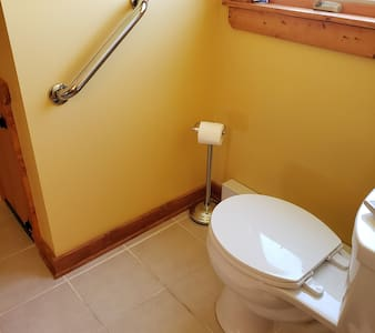 Grab bar is bolted to the wall.