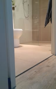 Shower opening is 590mm. Full length of internal showering space 1500mm. width 1000mm. Easy entry to bathroom from living spaces.