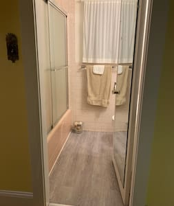 Entry to guest bathroom is on the first floor of our home.