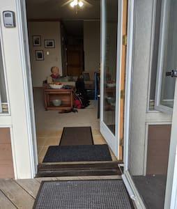 Entry into condo -- door is 32 inches wide.