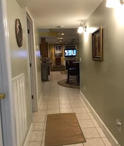 Hallway from bedroom to eating and setting areas.