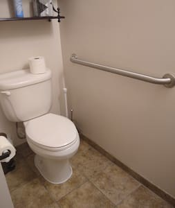 grab bar is bolted to studs in the wall
