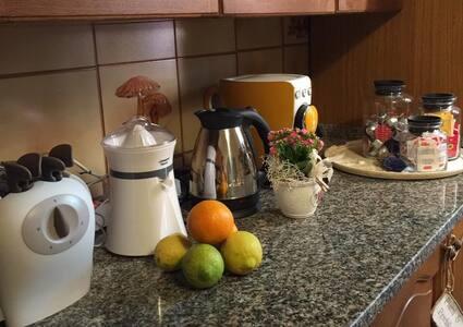 Cucina ad esclusivo uso dell'ospite e con tutto il necessario per preparare pasti completi. Pentole stoviglie posate tovagliati in dotazione. Forno tostapane spremiagrumi bollitore tutto elettrico.