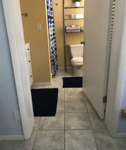 Extra wide doorway and walk in shower.