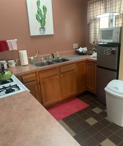 Kitchen has a 48 inch high refrigerator and double sink as shown.