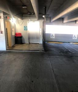 parking garage with elevator