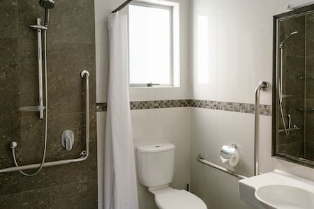 Handrails in the shower are bolted to the wall.