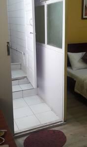 Wide entryway to the bathroom