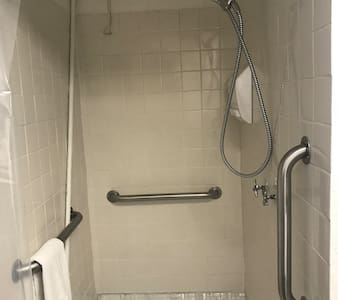 Three grab bars attached to shower stall walls