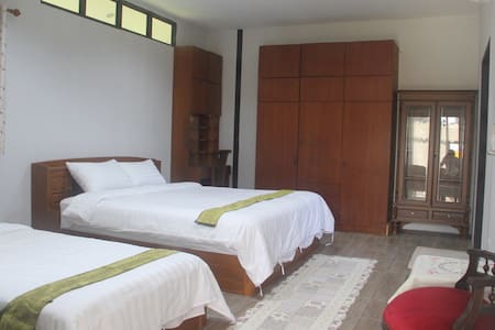 Our spacious bedroom has 2 beds without steps.