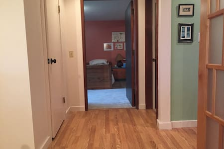 """The doorway to the bedroom with two twin beds is 35"""" wide.  If you make allowances for the door, there is 33"""" of clearance.  This is a very shallow transition threshold between the floor and the carpet.  It is about 1/8"""" high."""