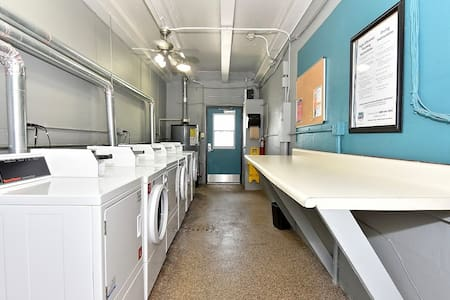 Use combined washer/dryer in unit for smaller loads and when you have plenty of time. Otherwise, the laundry room just a few doors down is great for fast larger loads. Load laundry card in room in advance and enter secure laundry room with fob.