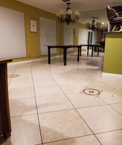 open floor plan in upper living room and dining area.