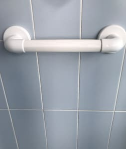 Hand rail in the shower.