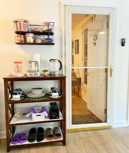 This is the entrance door from the Sunroom to the bedroom, which is flat and has no steps.