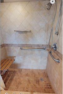 Extra space around shower