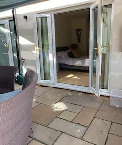 Double doors into The Bun Room