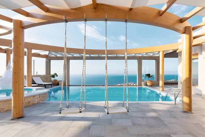 Minimalist Mediterranean Estate with Sea View Infinity Pool