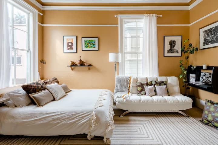 XL Art-Filled Room in a Sunny Victorian Apartment