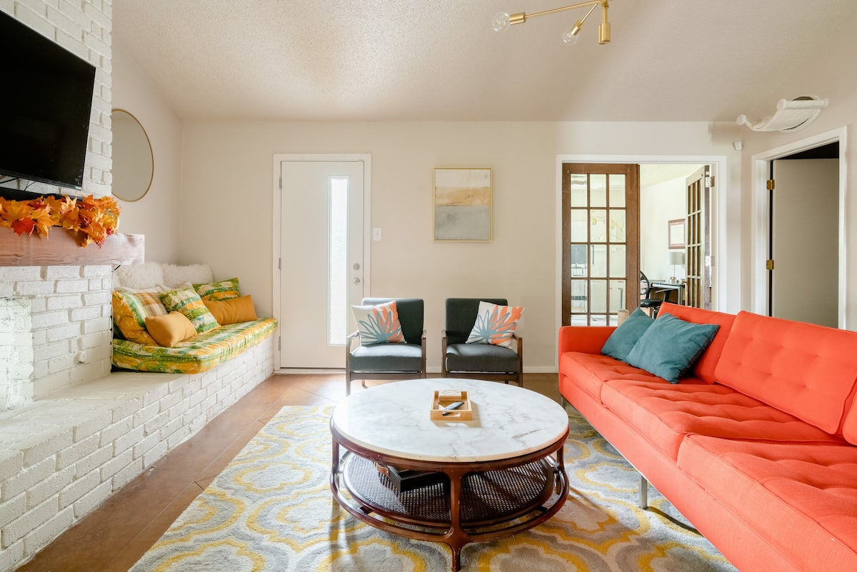 Enjoy Austin from a Citrus Themed Mid Century Home