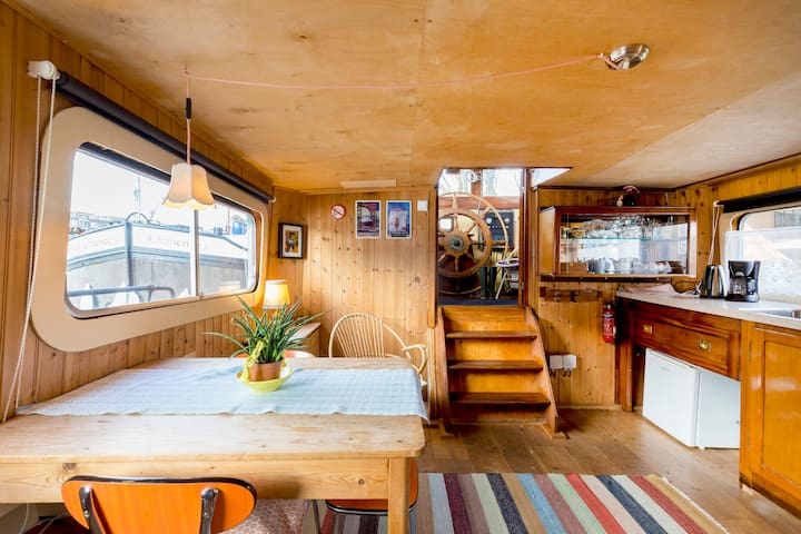 Romantic deckhouse on old barge