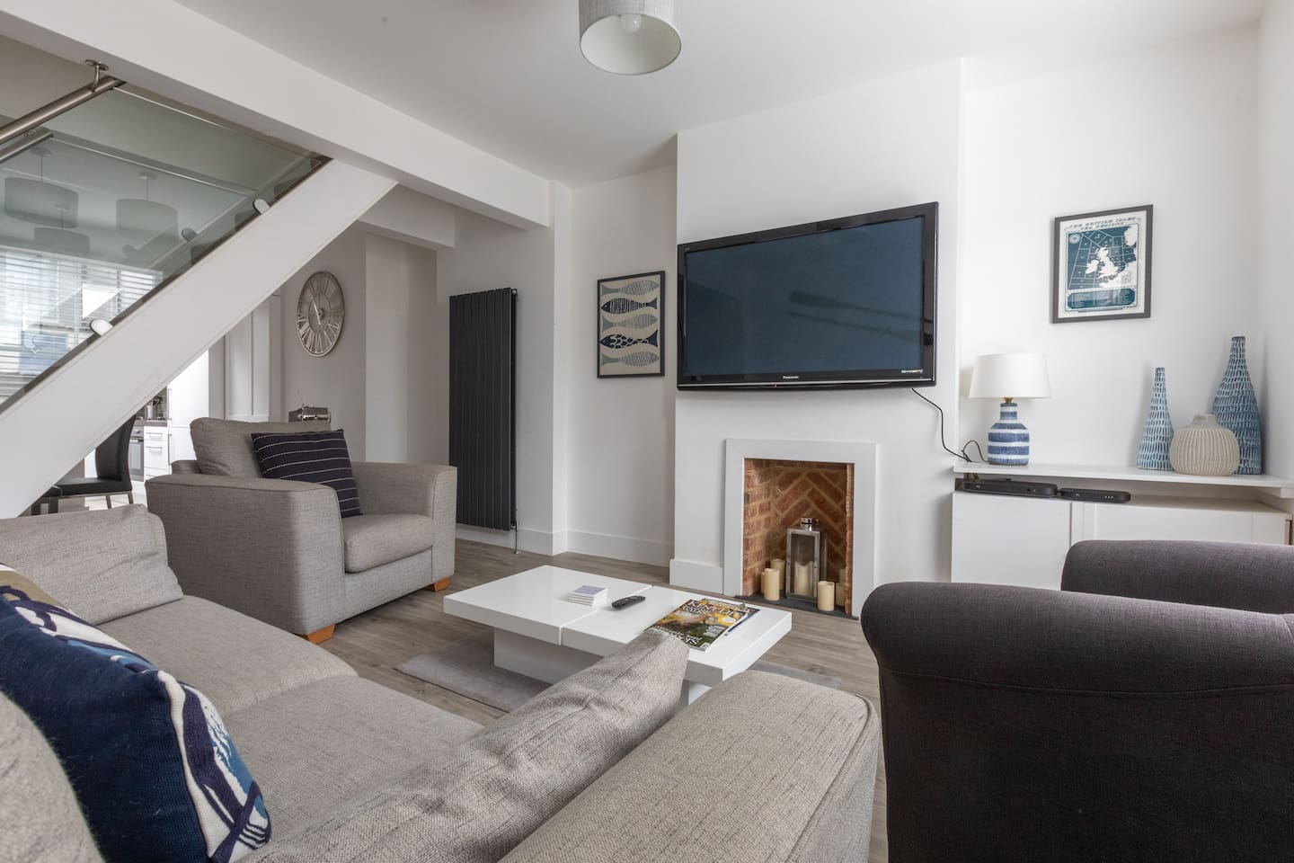 Open plan ground floor with a large smart TV with Sky channels
