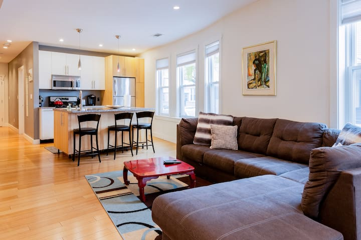Spacious 3BR with A/C & full kitchen near MIT/Harv