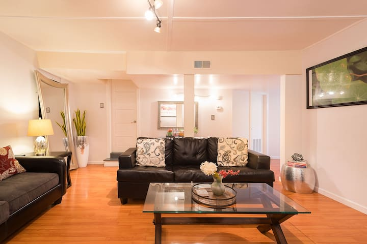 Living room or 2nd bedroom-it's up to you what you use it as. Black couch pulls out to bed!