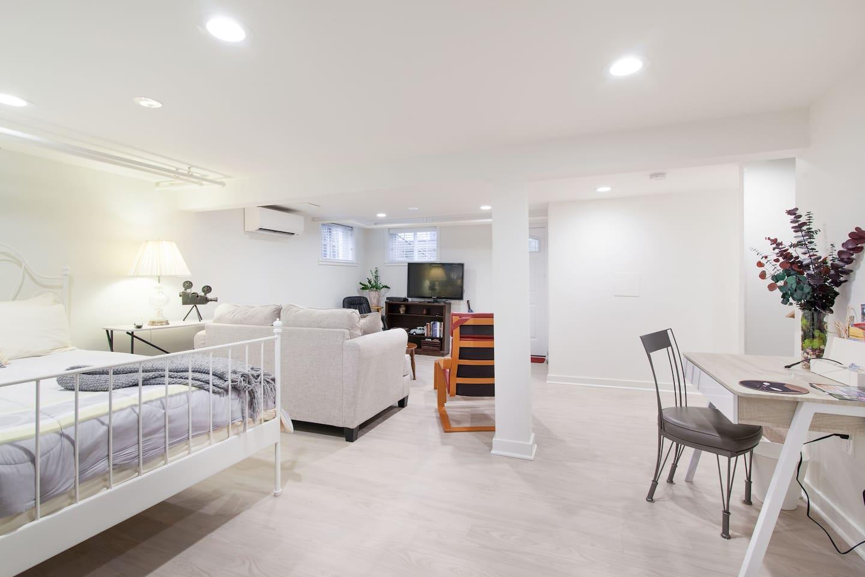 Bright, spacious basement studio apartment.