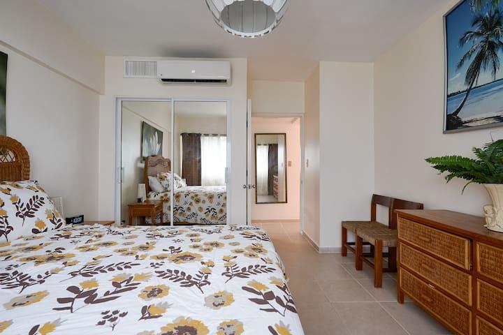 Comfortable queen side bed. Air unit. Mirrored closet doors.