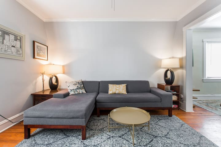 Comfortable sectional for lounging or sleeping.