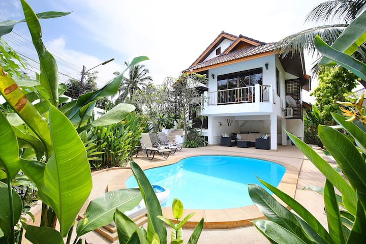 Private pool villa, 400m to beach, Free Transfers