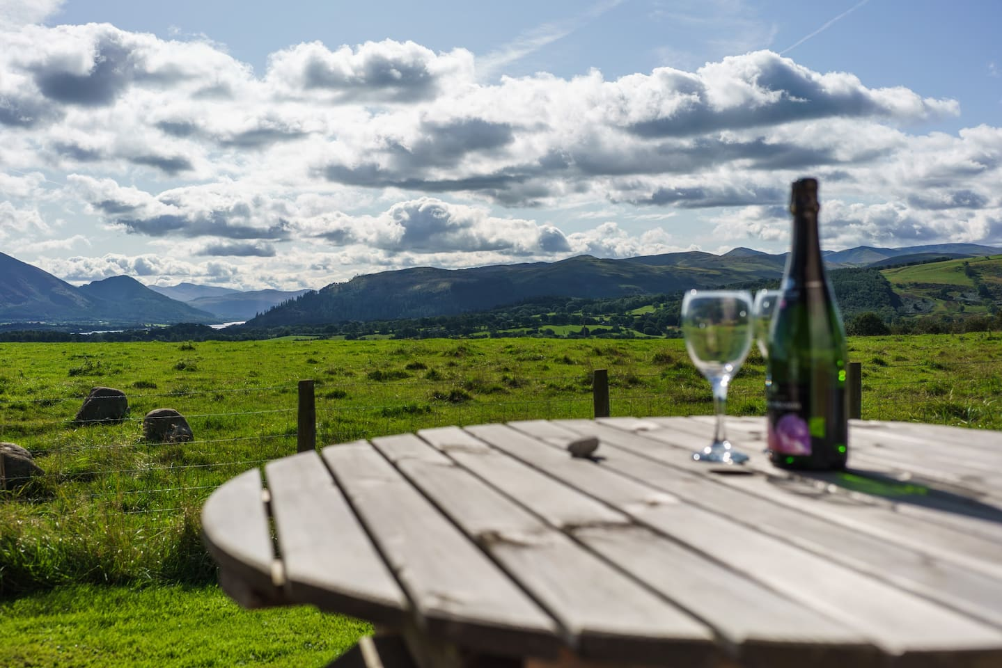 View of Skiddaw from the lodge decking.