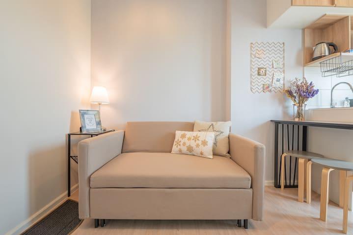 Sofa and living area.